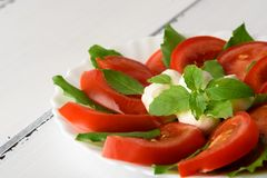 Салат Caprese с зрелыми томатами и сыром моццареллы при свежие листья базилика изолированные на белой предпосылке красивейшие дет Стоковое фото RF