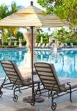Салоны фаэтона приближают к ландшафту pool.tropical стоковое фото