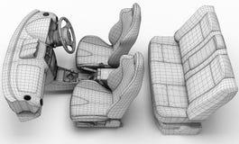 Салон автомобиля в форме решетки иллюстрация 3d Стоковое фото RF