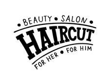 Салон красоты стрижки для ее для его - логотип, шильдик, шаблон для волос и салон красоты руки вычерченный иллюстрация штока