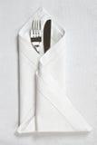 салфетка ножа вилки linen стоковое фото
