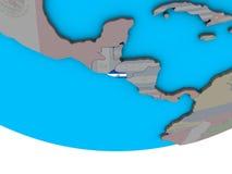 Сальвадор с флагом на глобусе иллюстрация вектора