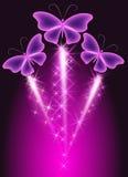 Салют и бабочки иллюстрация вектора