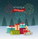 Салют, праздничные фейерверки и куча красочных в оболочке подарочных коробок Подарки перед рождественской елкой иллюстрация вектора