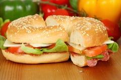 салями bagel Стоковое Изображение RF