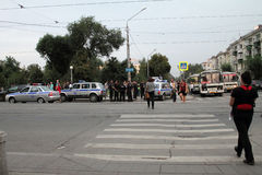 Самара, Россия - 21-ое августа 2014: задержание преступников A стоковые фотографии rf