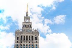 Самая высокая верхняя часть дворца культуры и науки в Варшаве Стоковое Изображение