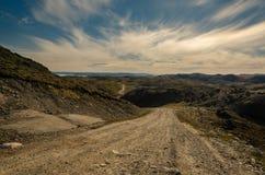 Самая длинная дорога в Гренландии водя от Kangerlussuaq для того чтобы указать 660 около ледяной шапки стоковое фото