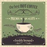 Самая лучшая горячая предпосылка года сбора винограда кофе наградное качество Первоначально вкус Свеже заваренный иллюстрация штока