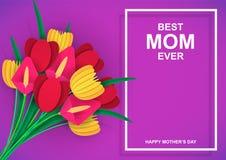 Самая лучшая мама всегда E Красочный букет цветков с поздравлениями Белая рамка Покрашенная бумага отрезала вне иллюстрация штока