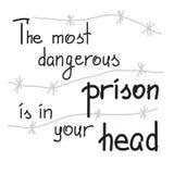 Самая опасная тюрьма в вашей голове иллюстрация штока