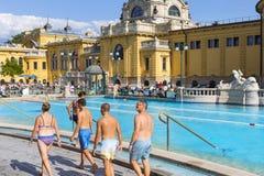Самая старая ванна Szechenyi целебная самая большая целебная ванна в Европе Стоковая Фотография RF