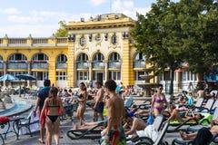 Самая старая ванна Szechenyi целебная самая большая целебная ванна в Европе Стоковое Изображение RF