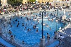 Самая старая ванна Szechenyi целебная самая большая целебная ванна в Европе Стоковая Фотография