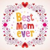 Самая лучшая карточка сердец и цветков мамы всегда Стоковые Изображения RF