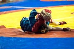 Самбо или самозащита без оружий. Девушки конкуренций. Стоковое Изображение RF