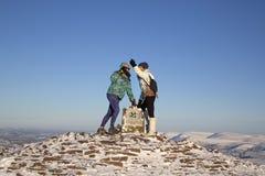 Саммит горы вентилятора ручки y в зиме стоковая фотография rf