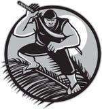 Самоанец Ninja na górze круга фронта кокоса Стоковые Фото