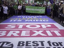 Самое лучшее для служак Британии социальных протестуя против Brexit стоковые изображения