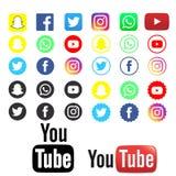 Самое лучшее социальных логотипов средств массовой информации на ясной предпосылке стоковые изображения