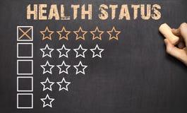 Самое лучшее состояние здоровья 5 золотых звезд chalkboard Стоковое Изображение RF