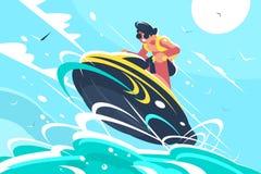 Самокат воды катания Гая в море иллюстрация вектора