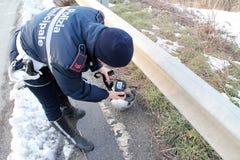 самокат дороги аварии аварии Стоковое Фото