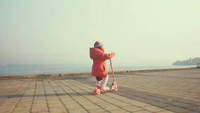 Самокат езды маленького ребенка в парке на день осени акции видеоматериалы