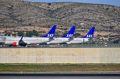 Самолеты SAS на авиапорте Аликанте Стоковая Фотография RF