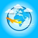 самолет вокруг мира Иллюстрация вектора