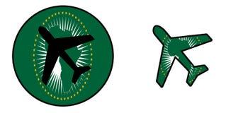 Самолет изолированный на бело- Африканском Союзе Стоковое Изображение