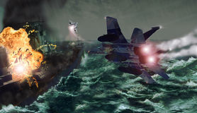 самолет-истребители нападения Стоковые Изображения RF