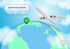Самолет и глобус Воздушные судн летая вокруг планеты земли с континентами и океанами r Самолет полета, перемещение мира иллюстрация штока