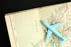 Самолет и карта Стоковое фото RF