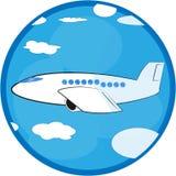 Самолет летает среди облаков вектор иллюстрация штока
