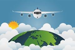 Самолет летает через мир, солнца земли с разнообразие облаками иллюстрация штока