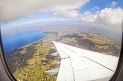 самолет пассажира в полете Стоковая Фотография