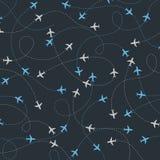 Самолет перемещения по всему миру направляет безшовную картину иллюстрация вектора