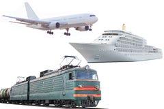 Самолет, поезд и туристическое судно стоковые фото