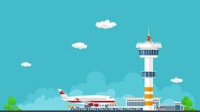 Самолет приезжает в аэропорт, видео HD иллюстрация штока