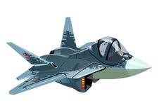 Самолет реактивного истребителя скрытности мультфильма военный изолировал иллюстрация вектора