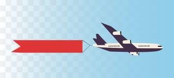Самолет со знаменем ленты иллюстрация вектора