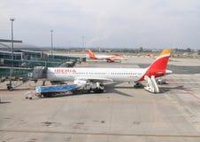Самолет Iberia на авиапорте Стоковые Изображения RF