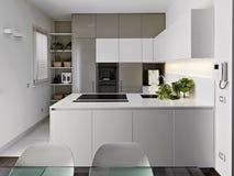 Самомоднейшая белая кухня стоковые фото