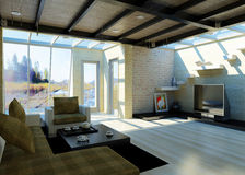 Самомоднейшая гостиная с большими окнами. иллюстрация вектора