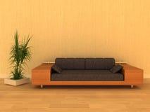 самомоднейшая померанцовая софа перевода 3d Стоковые Фото