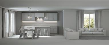 самомоднейшее дома нутряное серый интерьер стоковая фотография