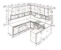 самомоднейшее свободной руки чертежа конструкции нутряное Стоковое Изображение RF