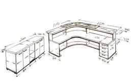 самомоднейшее свободной руки чертежа конструкции нутряное иллюстрация вектора