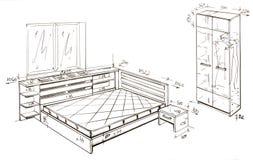 самомоднейшее свободной руки чертежа конструкции нутряное Стоковая Фотография